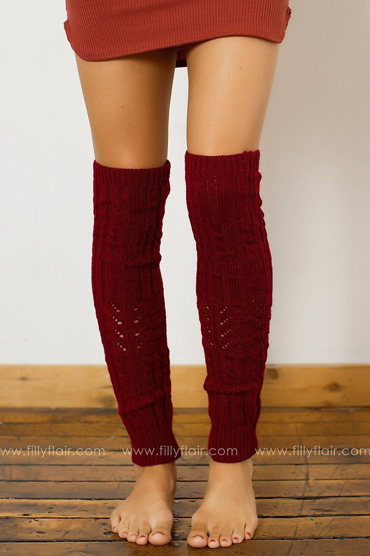 One Step Knit Leg Warmers in Burgundy