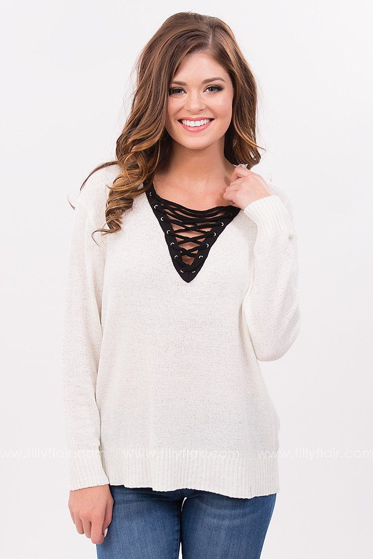 Deep Sea Lace Up Sweater in White