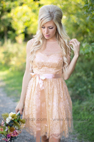 A Lovely Ballad Bridesmaid Dress in Oatmeal