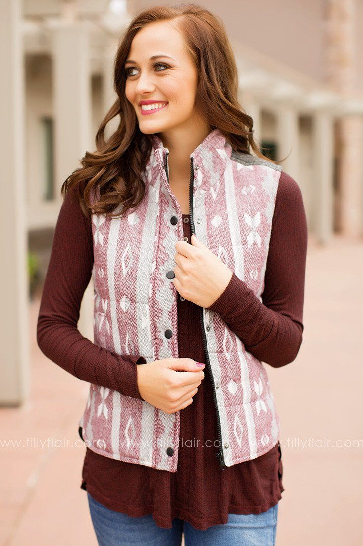 Morning Mist Vest in Burgundy