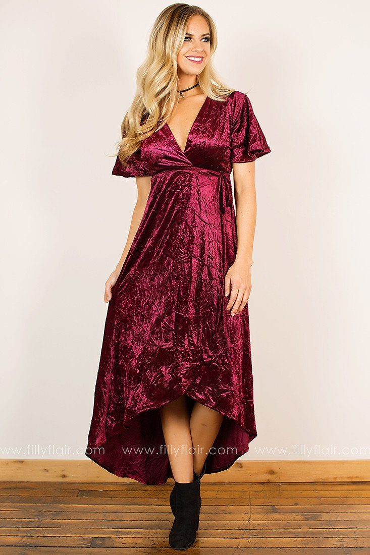 Holiday Decadence Wrap Dress in Wine