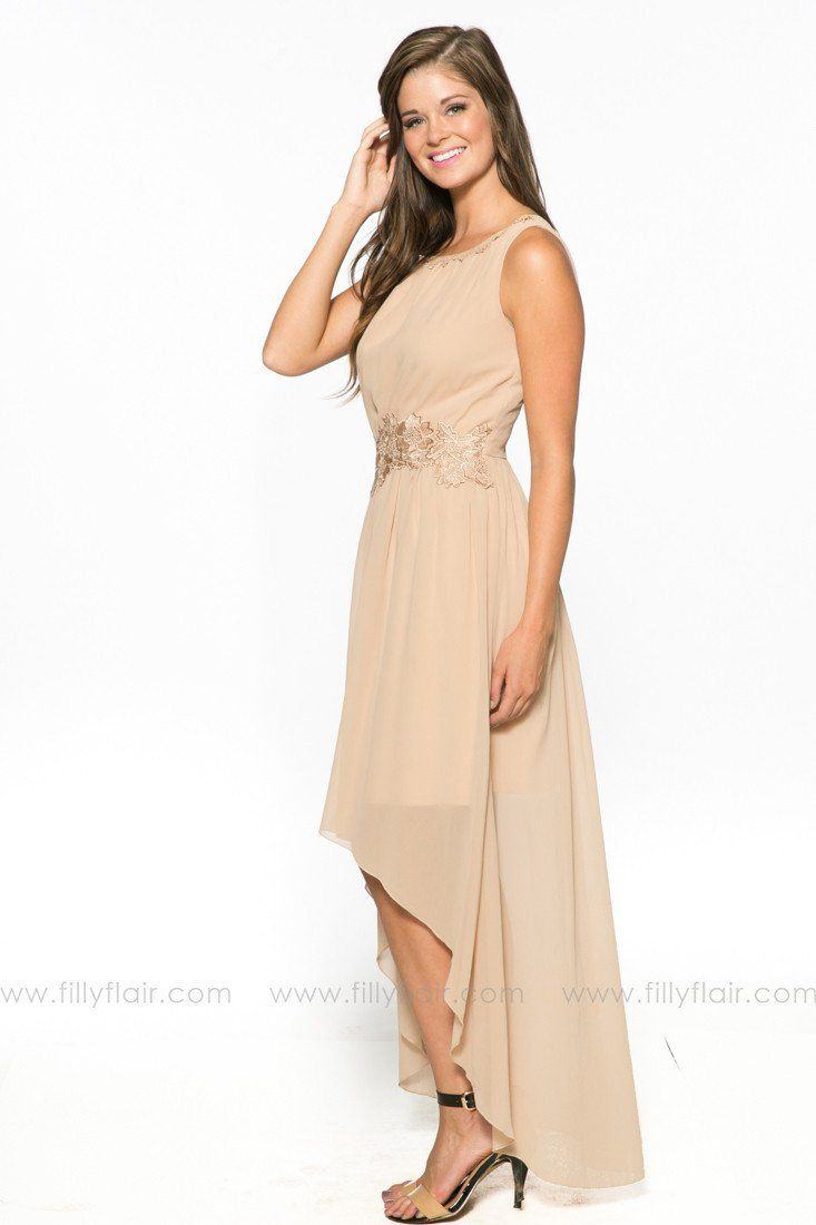 Catherine High Low Bridesmaid Dress in Beige