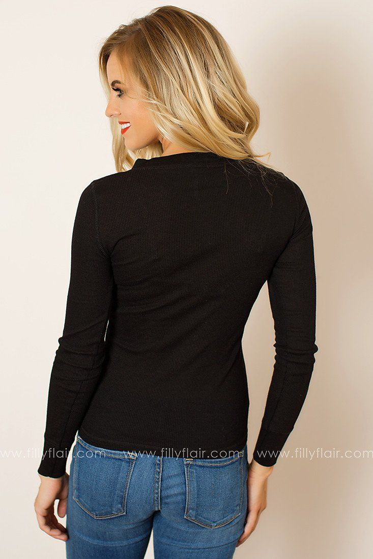 Feel Good Long Sleeve Henley in Black