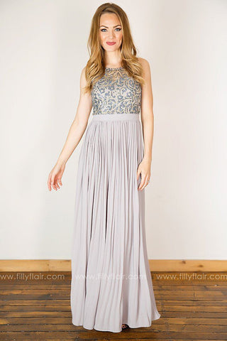 Gilded Lily Sleeveless Lace Pleated Dress in Lavender