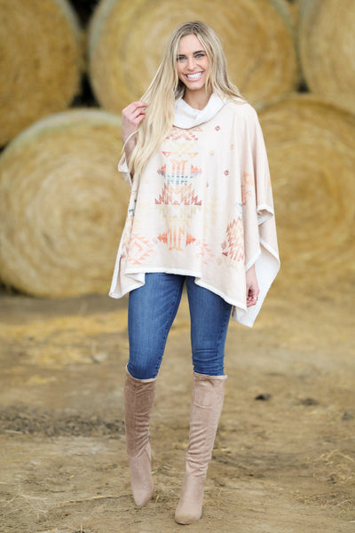 Dreaming of You Printed Poncho in Camel - Filly Flair