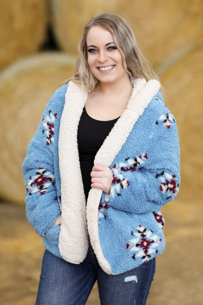 Brighten My Life Aztec Design Hooded Sherpa Cardigan In Slate Blue - Filly Flair