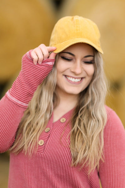 Weekend Duties Washed Baseball Cap in Mustard - Filly Flair