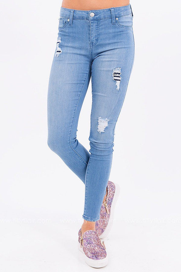 Out to Lunch Mid Rise Distressed Skinny Jean
