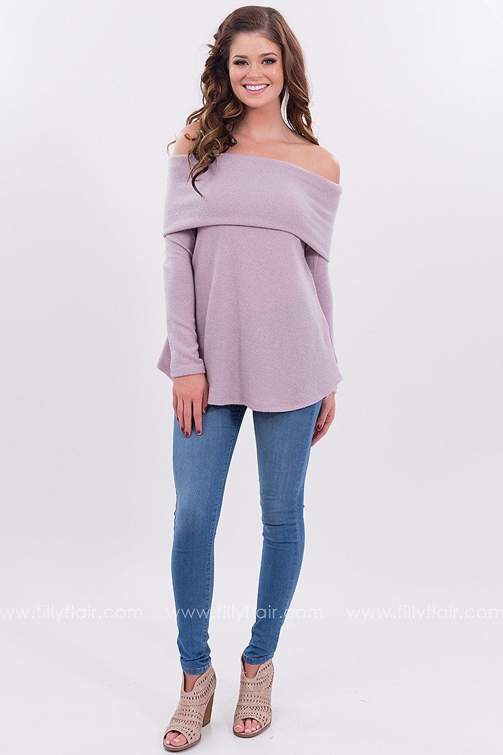 Emerald Isle Off the Shoulder Sweater in Lavender