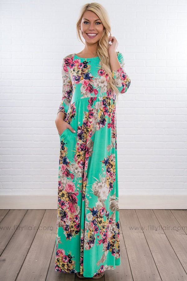 Ain't She Beautiful Floral 3/4 Sleeve Maxi Dress In Seafoam