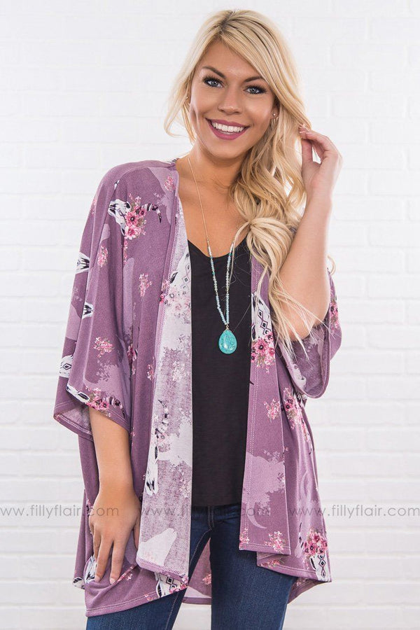 Road To Home Cow Skull Floral Kimono In Lilac