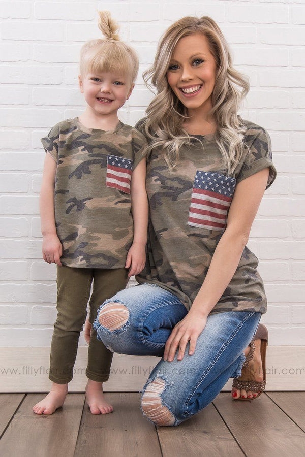 KIDS: At Attention Camo Flag Top