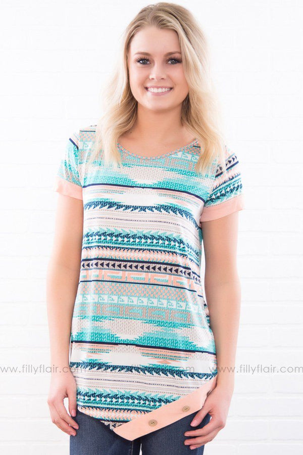 Walk This Way Aztec Short Sleeve Top In Peach Mint