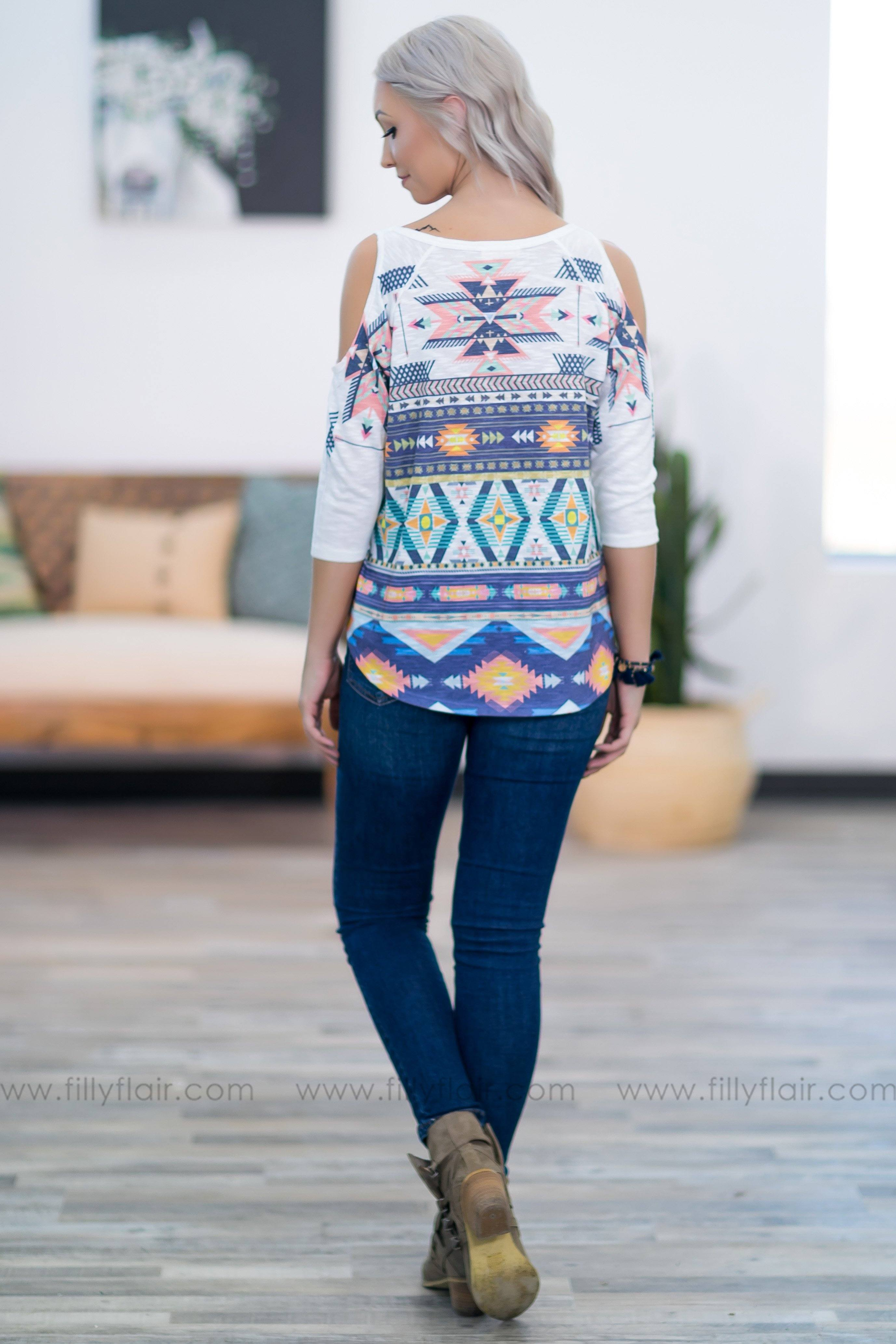 Crazy For You 3/4 Sleeve Aztec Cold Shoulder Top in White - Filly Flair