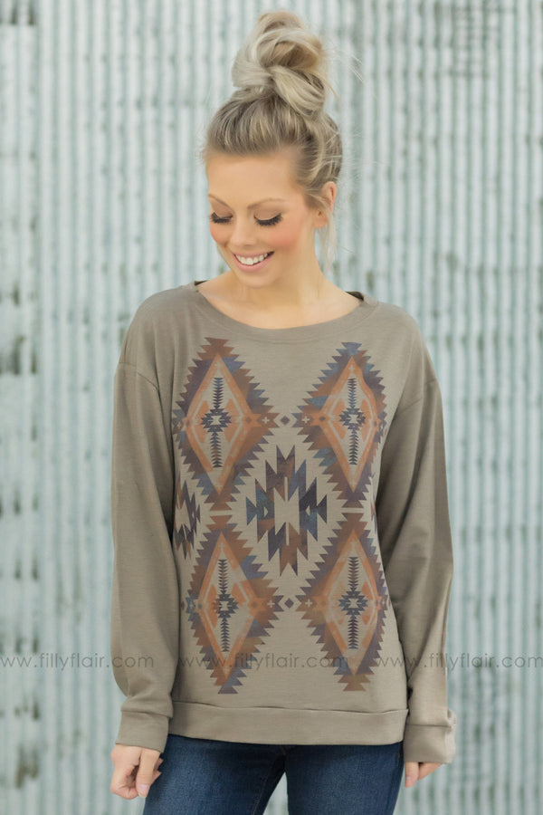 Better Days Long Sleeve Aztec Print Top In Warm Taupe - Filly Flair