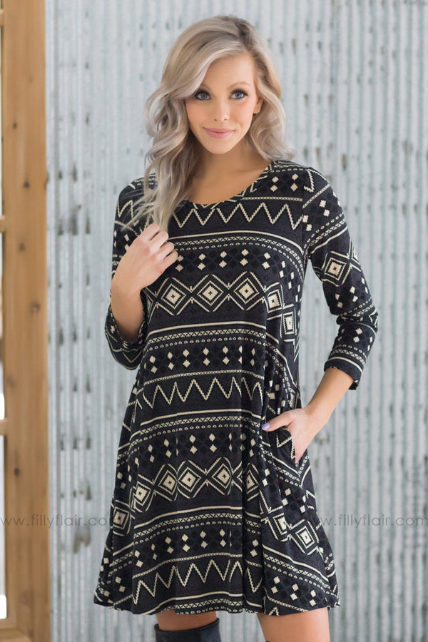 Take Your Time 3/4 Sleeve Aztec Print Dress in Black - Filly Flair