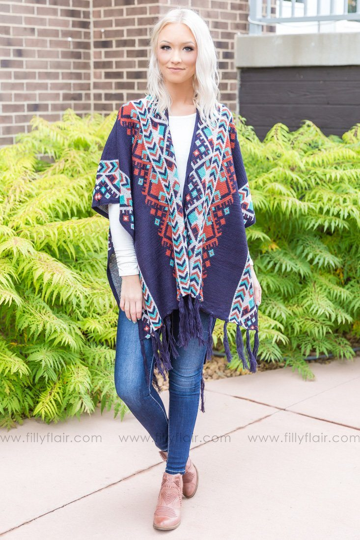 Wrap It Up Aztec Fringe Ruana Wrap in Navy - Filly Flair