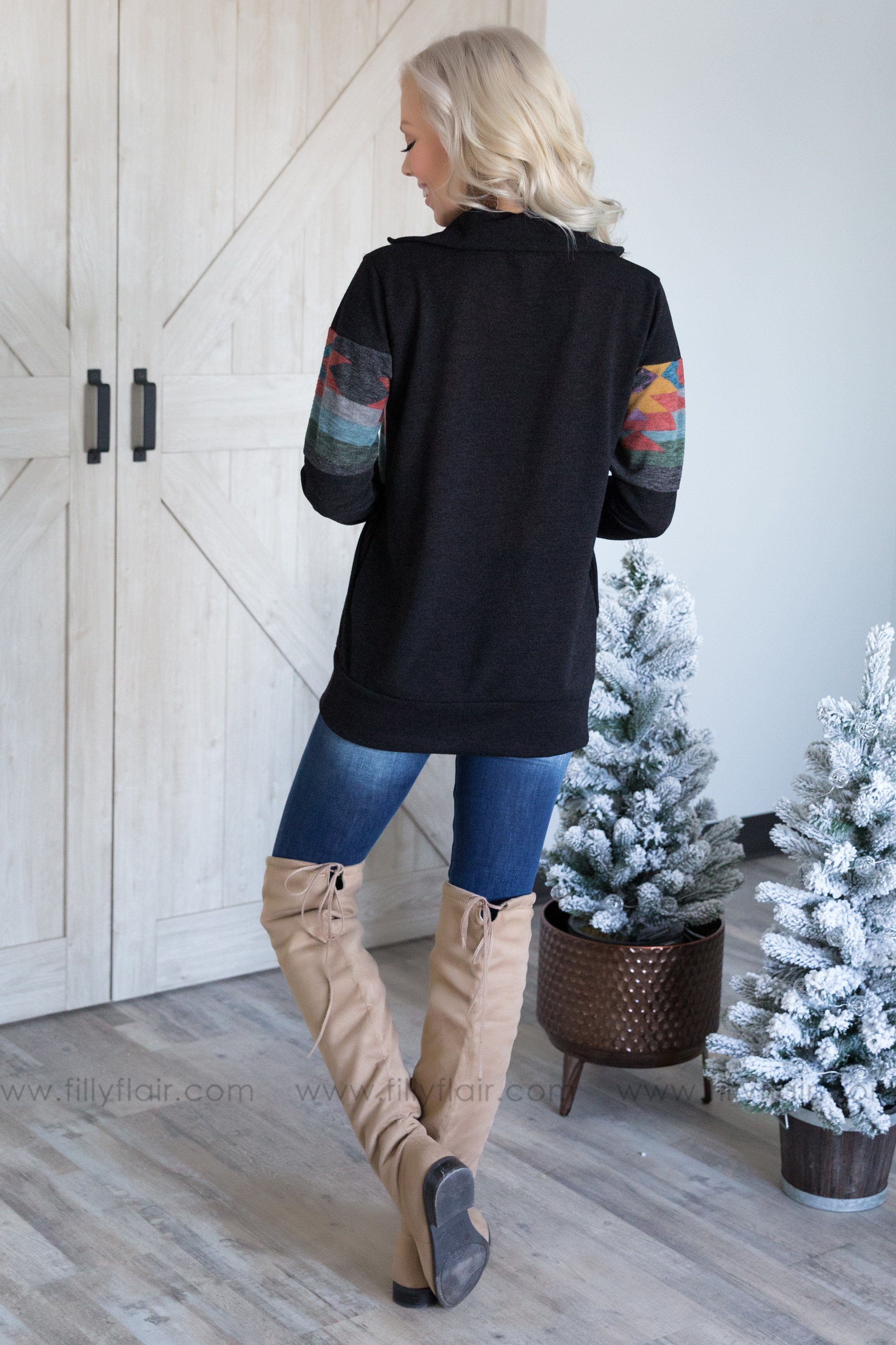Going Places Aztec Print Half Zip Long Sleeve Top In Black - Filly Flair