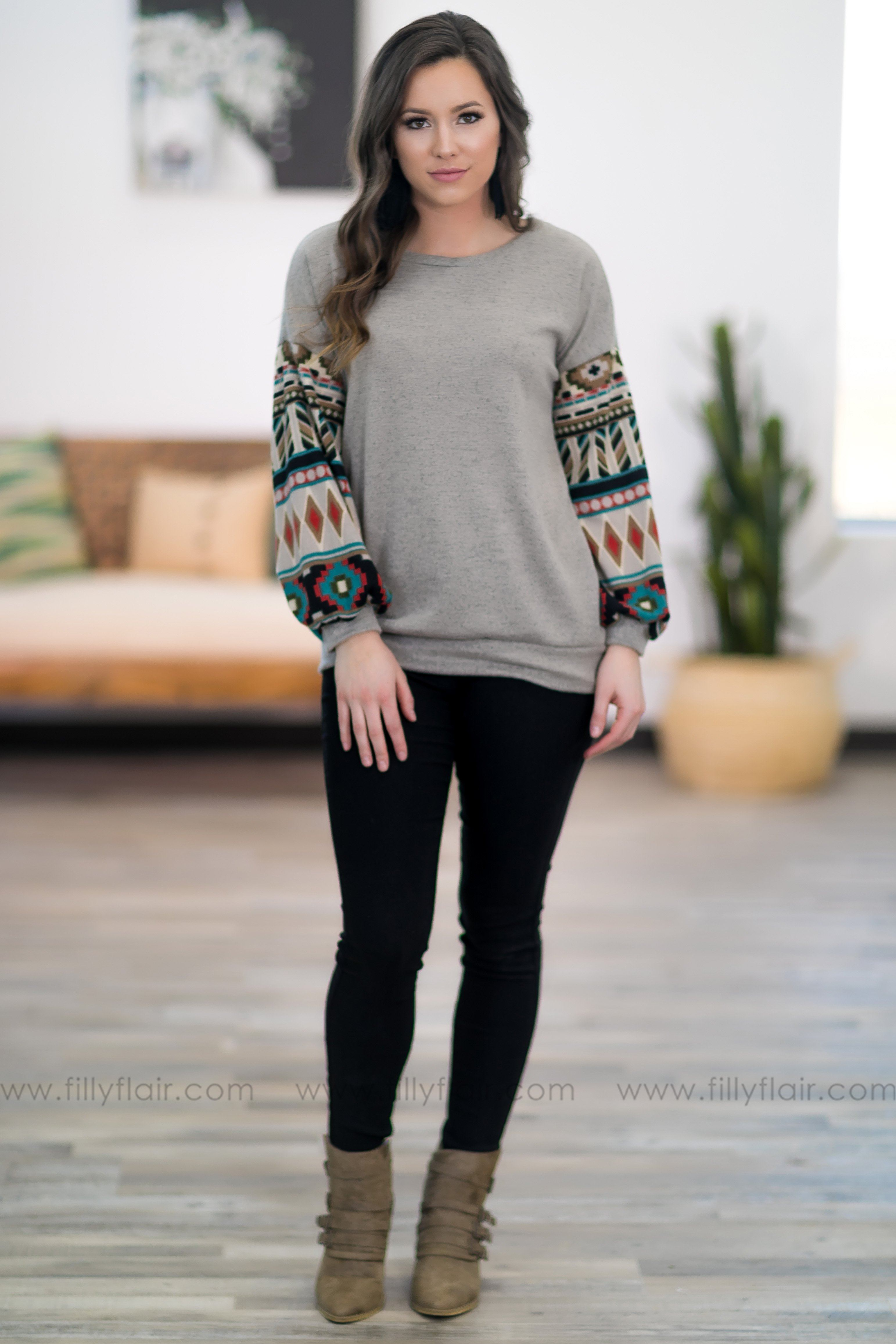 When I Met You Aztec Long Sleeve top in Taupe - Filly Flair