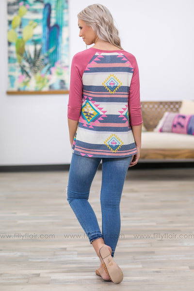 Take It From Here 3/4 Sleeve Aztec Front Tie Top in Mauve - Filly Flair