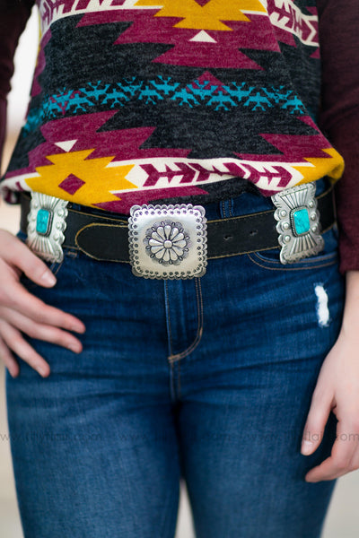 Country Crush Turquoise Stone Silver Concho Black Leather Belt - Filly Flair