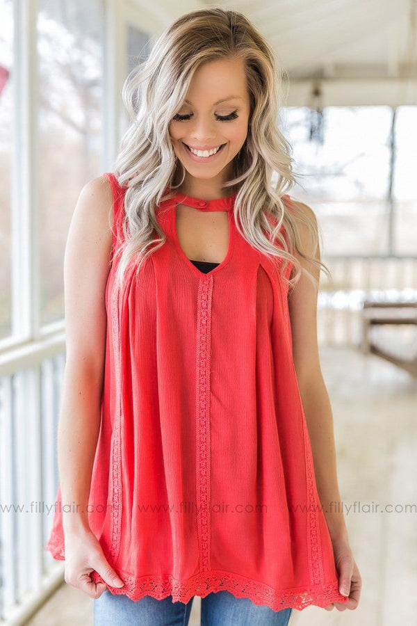Closing Time Sleeveless Lace Key Hole Top In Watermelon
