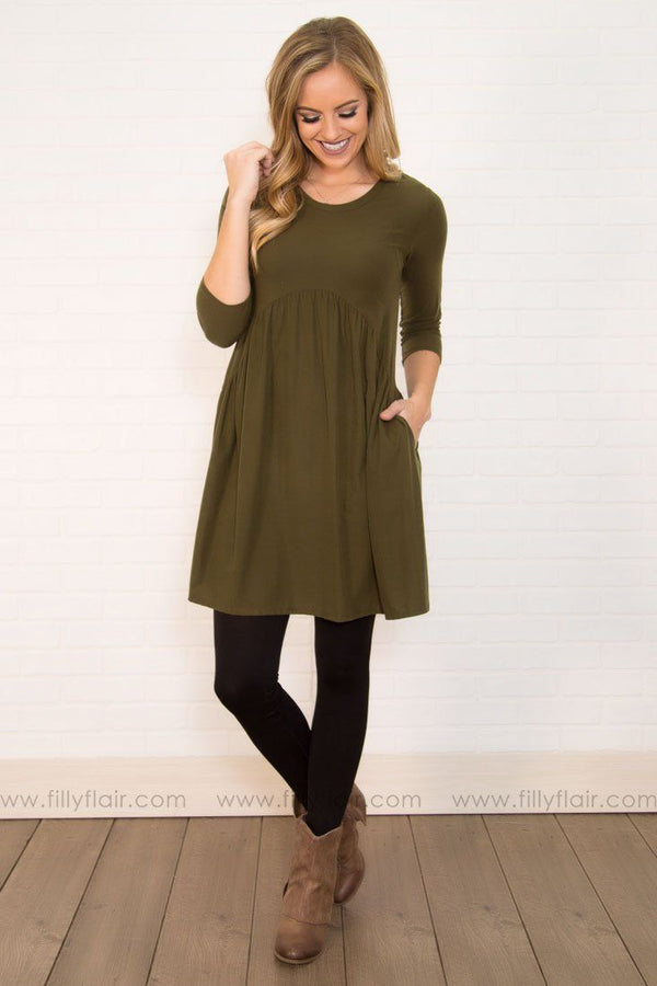 Doll Me Up Mini Dress In Olive