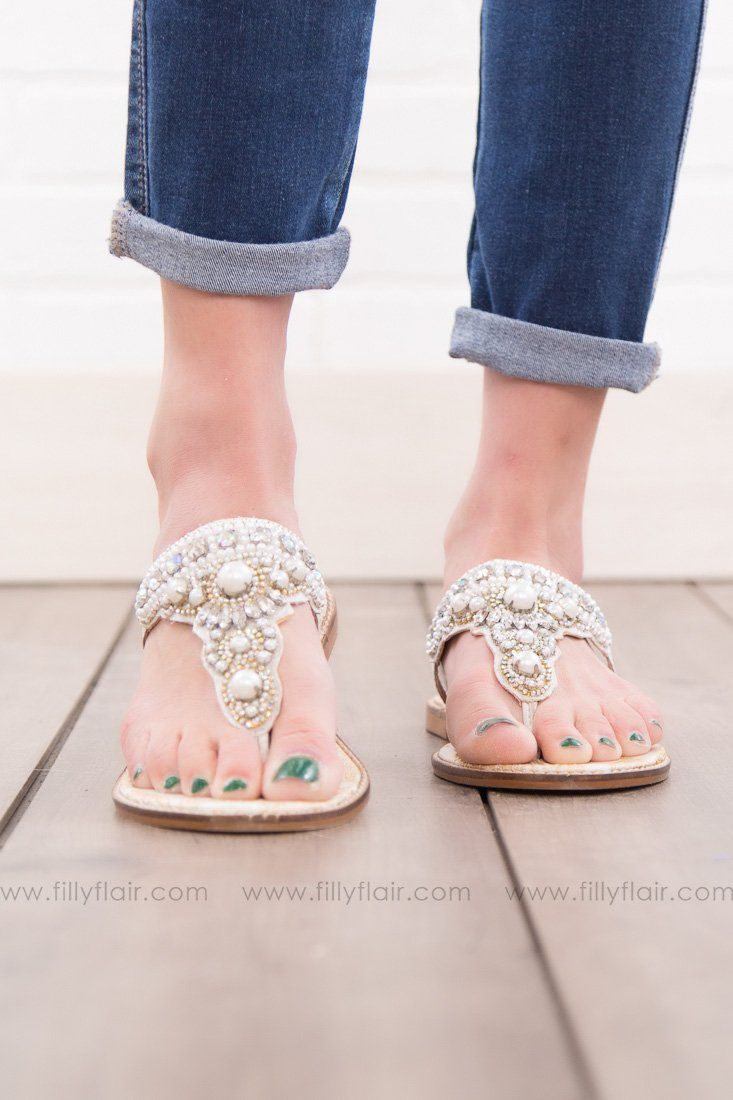 Naughty Monkey Gardenia Sandal in White - Filly Flair