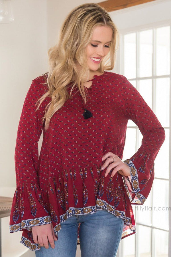 Life Out There Bell Sleeve Printed Top In Burgundy