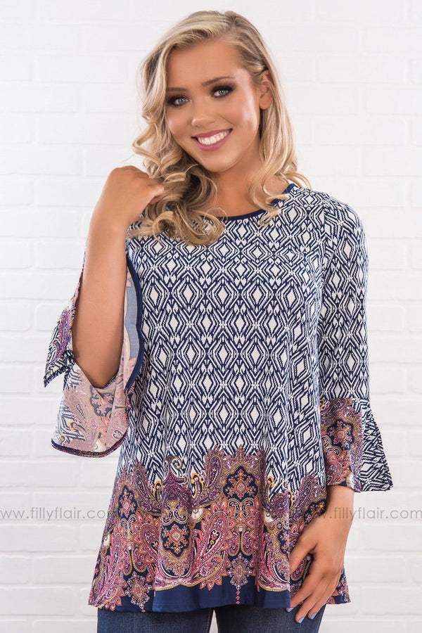 Holding You Paisley Print Bell Sleeve Tunic In Navy