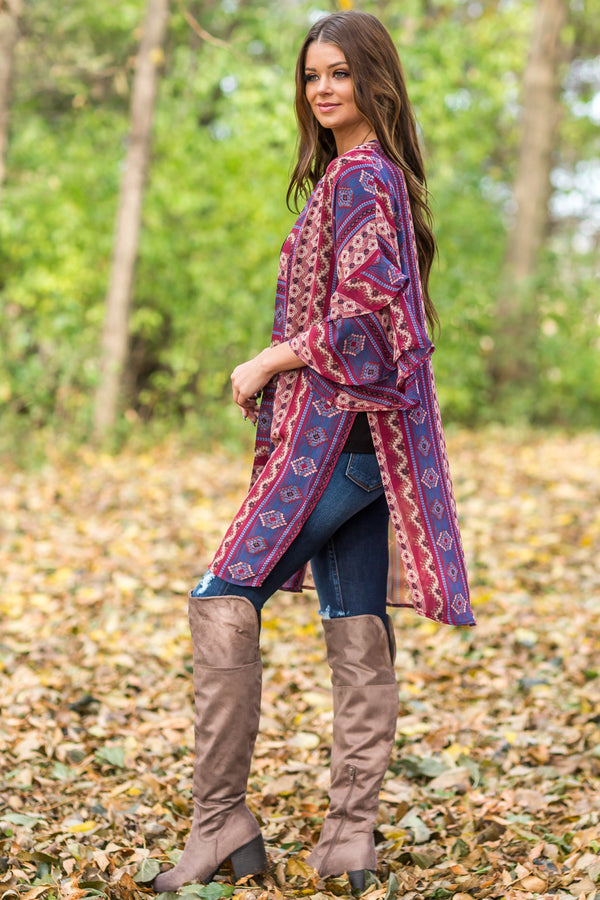 Bring It On Over Ruffle Sleeve Printed Kimono in Burgundy - Filly Flair