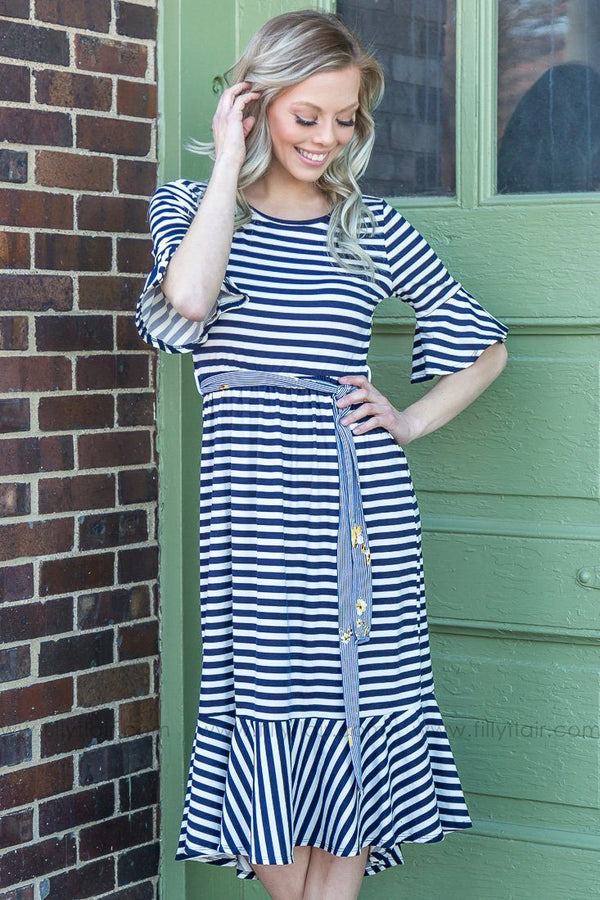 Sweet Child Of Mine Striped Ruffle Tie Dress In Navy