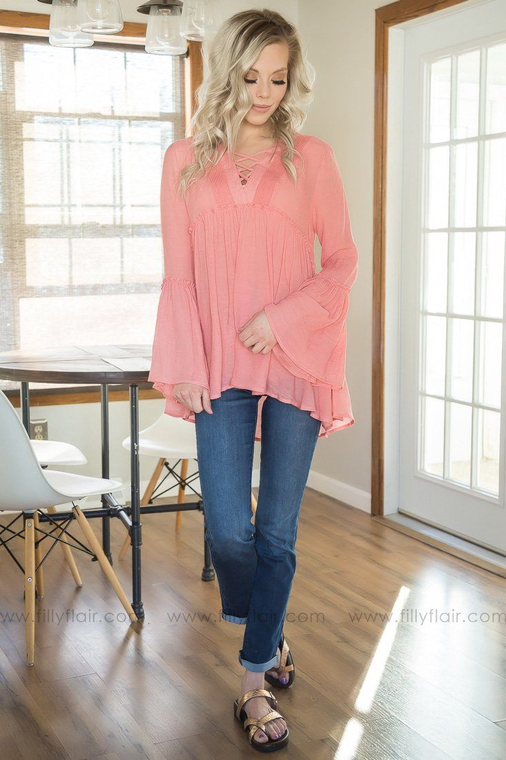 Good In Love Baby Doll Top In Coral