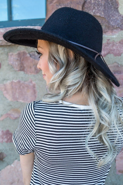 Don't Accuse Me Angora Wide Brim Hat In Black - Filly Flair