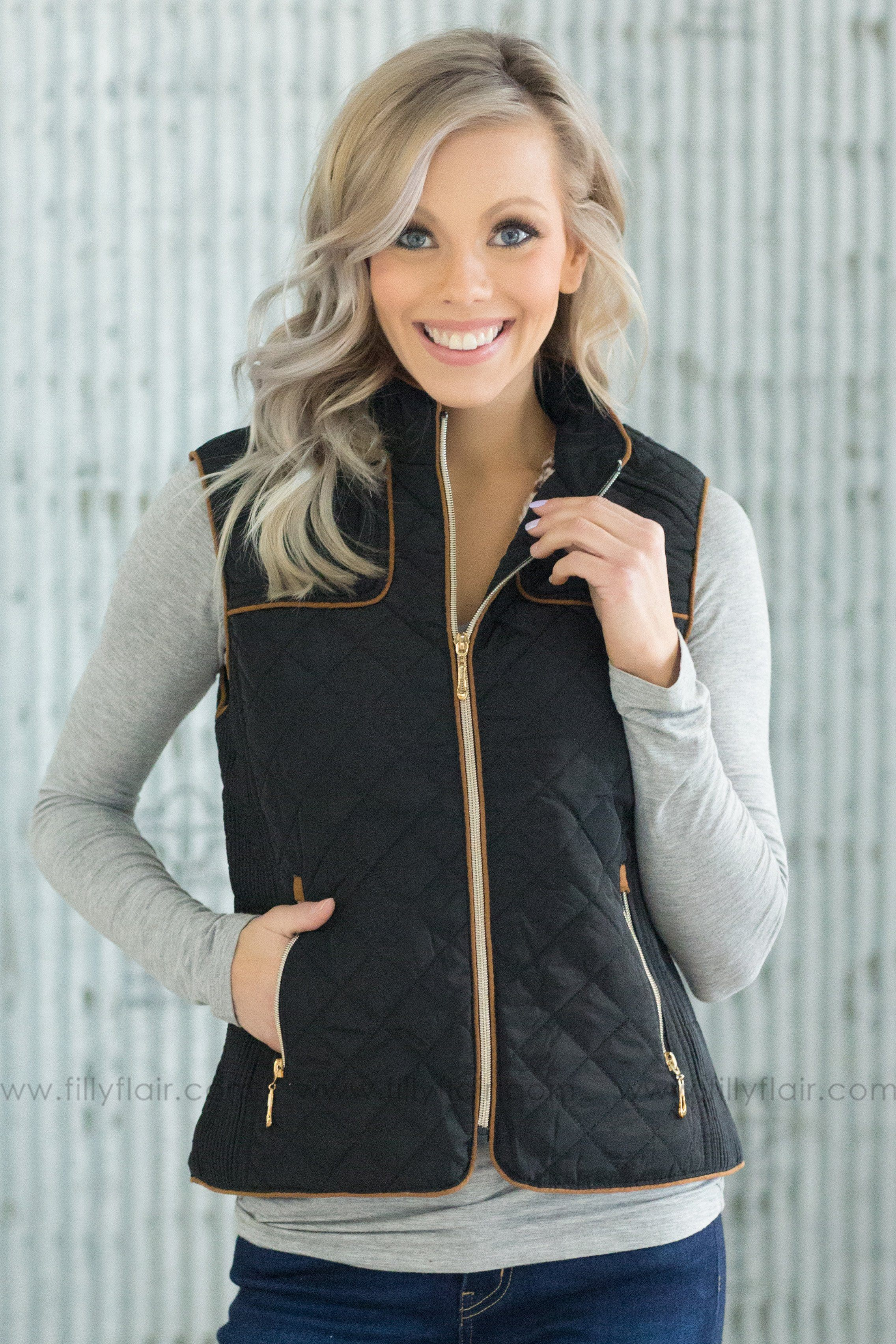 A New Beginning Puffy Zip Up Vest in Black - Filly Flair