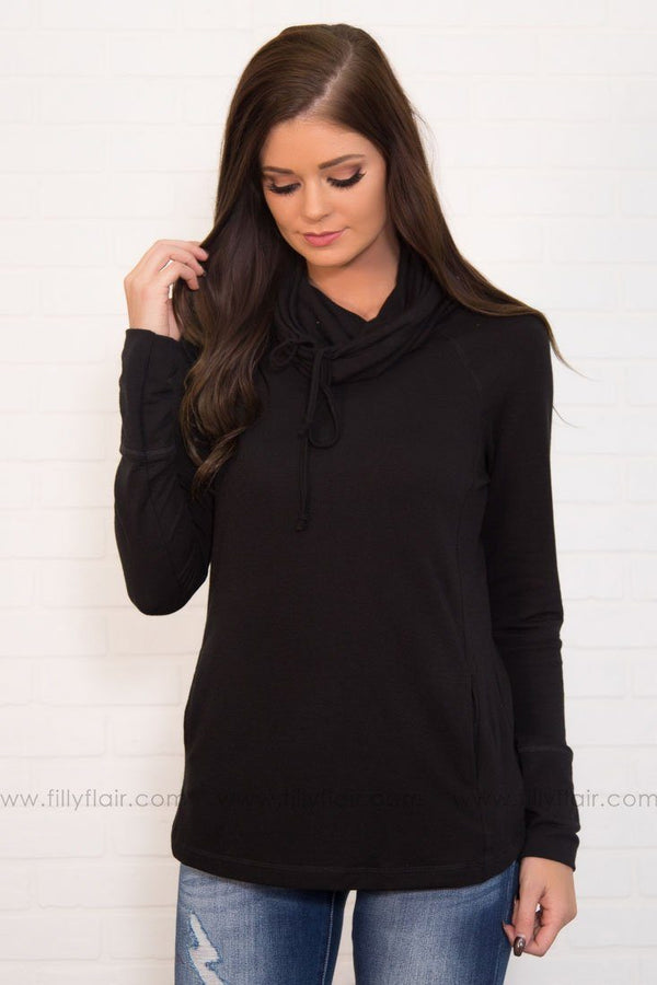 Here All Day Cowl Neck Top In Black