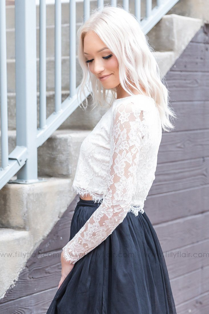 I'll Always Be Long Sleeve Lace Top In Ivory - Filly Flair