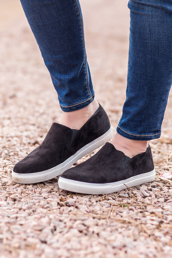 *A Step Ahead Suede Casual Shoe in Black* - Filly Flair