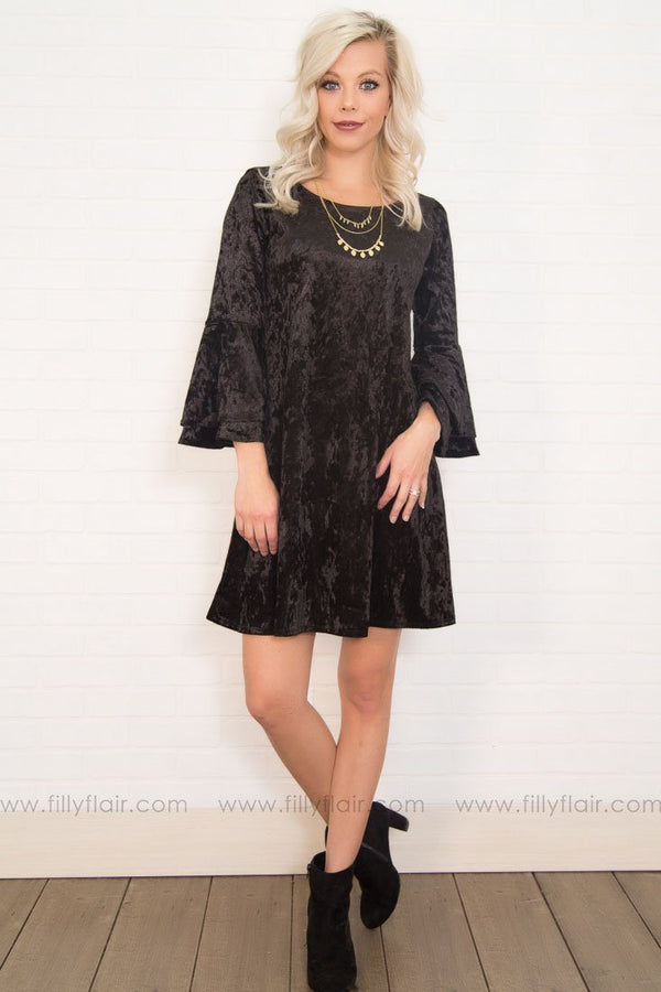 A Bella Velvet Mini Dress in Black