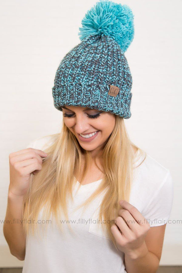 CC Pom Pom Beanie in Turquoise and Charcoal