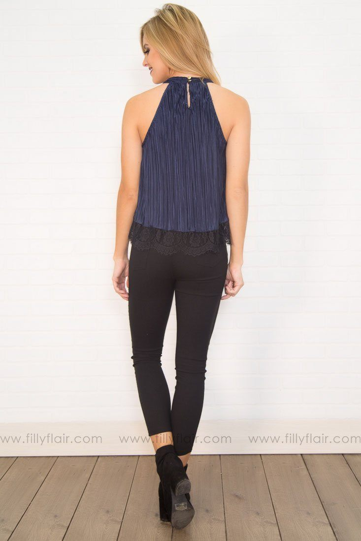 Take Me Out Ribbed Lace Top In Navy