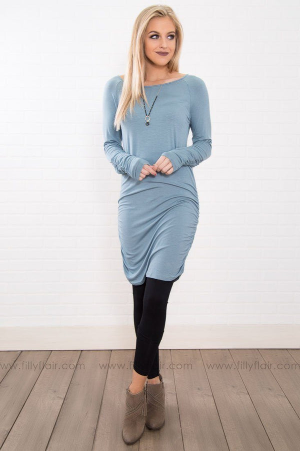 Closet Essential Long Sleeve Tunic In Dusty Blue