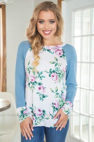 The Moon And Back Floral Print Top In Mint