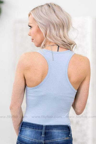 Basic and Beautiful Racer Back Bodysuit Tank Top in Light Blue - Filly Flair