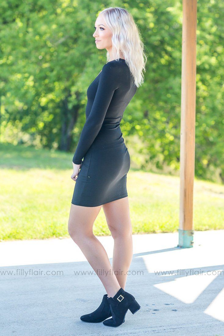There She Goes Long Sleeve Bodycon Dress in Black - Filly Flair