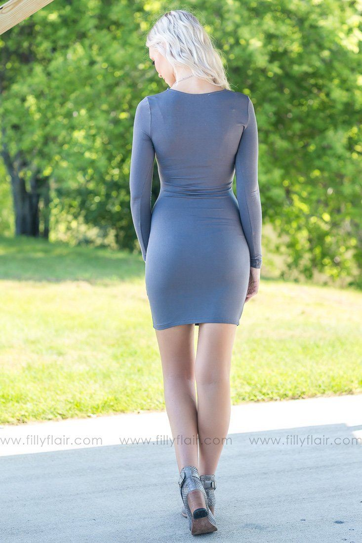 There She Goes Long Sleeve Bodycon Dress in Grey - Filly Flair