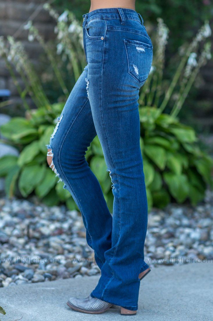 Kimmy-Wanda Kan Can Dark Wash Distressed Boot Cut Jeans - Filly Flair