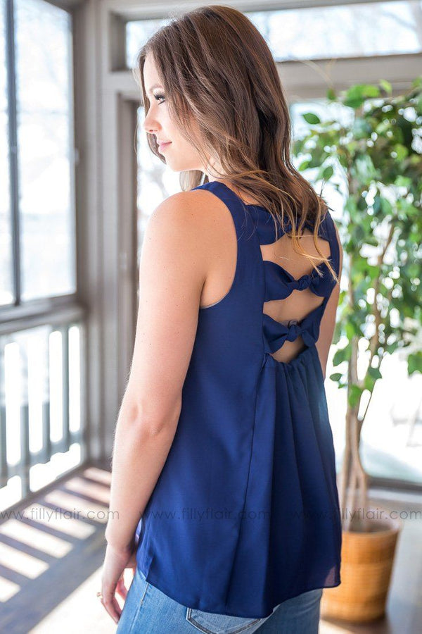 Sweetest Promise Open Bow Back Tank Top In Navy