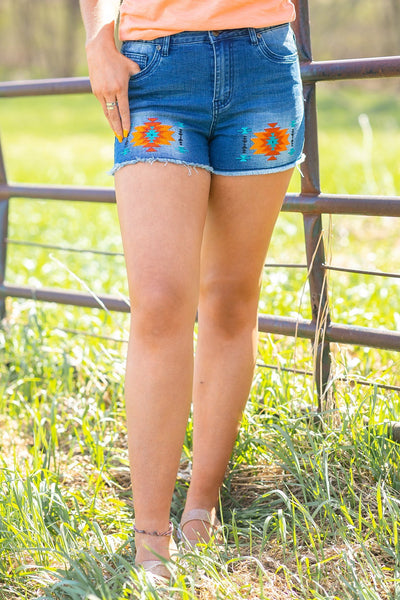 Be Happy Aztec Detail Jean Shorts - Filly Flair