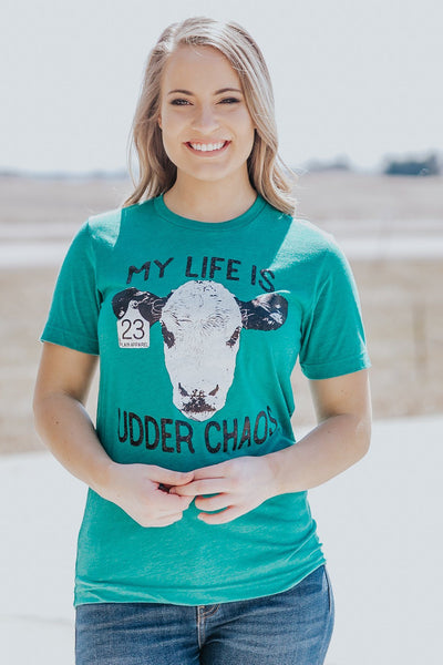 """My Life is Udder Chaos"" Cow Printed Short Sleeve Top in Teal - Filly Flair"